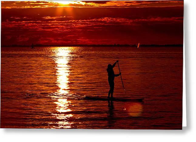 Surf Silhouette Greeting Cards - Sunset Silhouette Greeting Card by Barbara  White