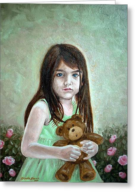 Child With Teddy Bear Greeting Cards - Suri Greeting Card by Gizelle Perez