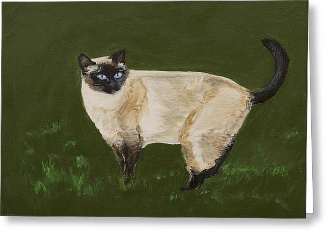 Pictures Of Cats Paintings Greeting Cards - Sweetest Siamese Greeting Card by Leslie Allen