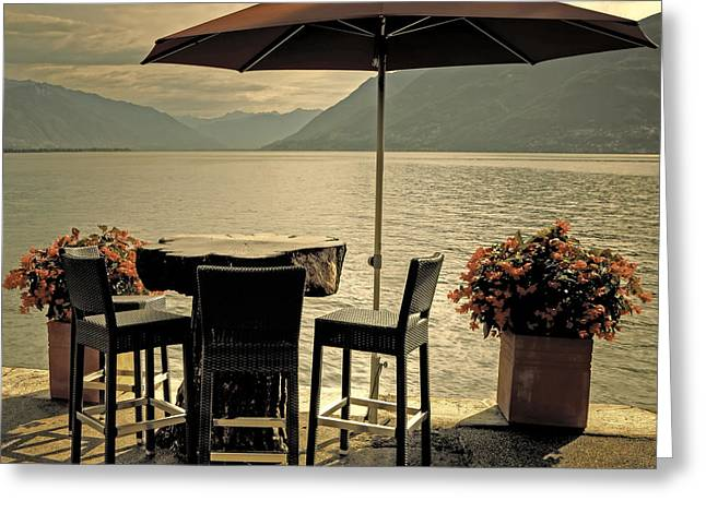 Ticino Greeting Cards - Table And Chairs Greeting Card by Joana Kruse