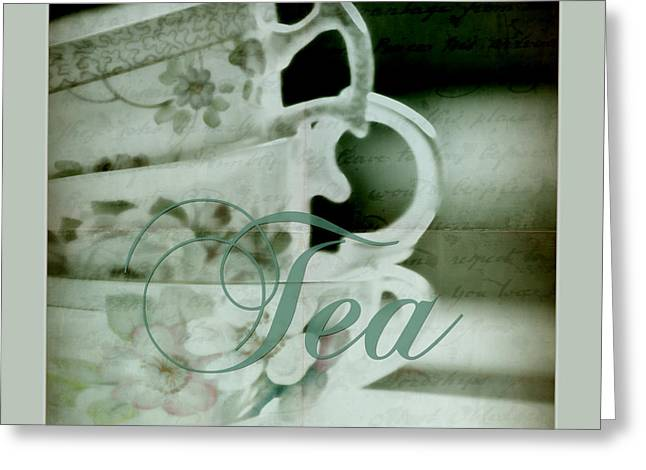 Vintage Teacup Greeting Cards - Tea for Three Greeting Card by Bonnie Bruno