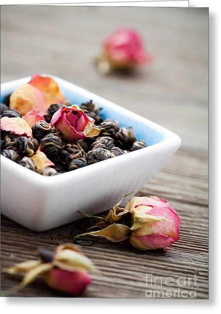Wooden Bowl Greeting Cards - Tea leaves Greeting Card by Kati Molin