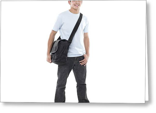 Shoulder Bag Greeting Cards - Teenage Boy Greeting Card by