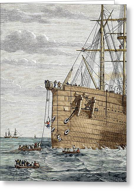 Trans-atlantic Greeting Cards - Telegraph Cable Laying Greeting Card by Sheila Terry