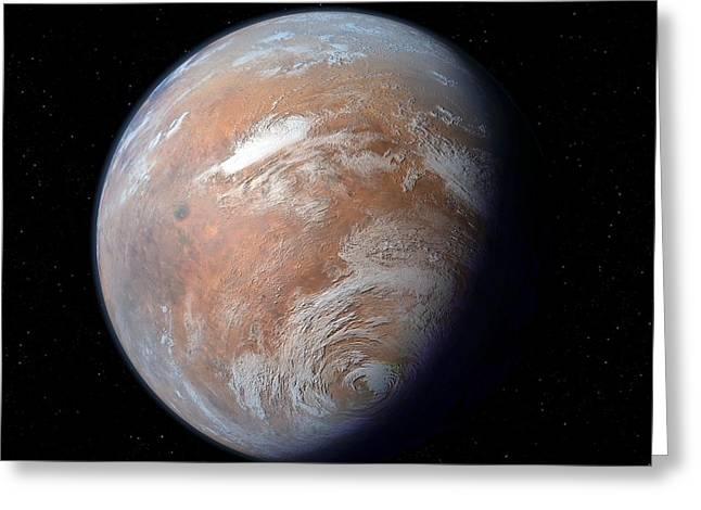 Mars Black Greeting Cards - Terraformed Mars, Artwork Greeting Card by Detlev Van Ravenswaay