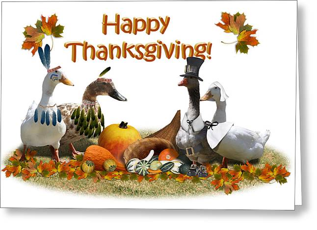 Birds Of A Feather Greeting Cards - Thanksgiving Ducks Greeting Card by Gravityx Designs