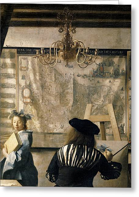 Draped Greeting Cards - The Artists Studio Greeting Card by Jan Vermeer