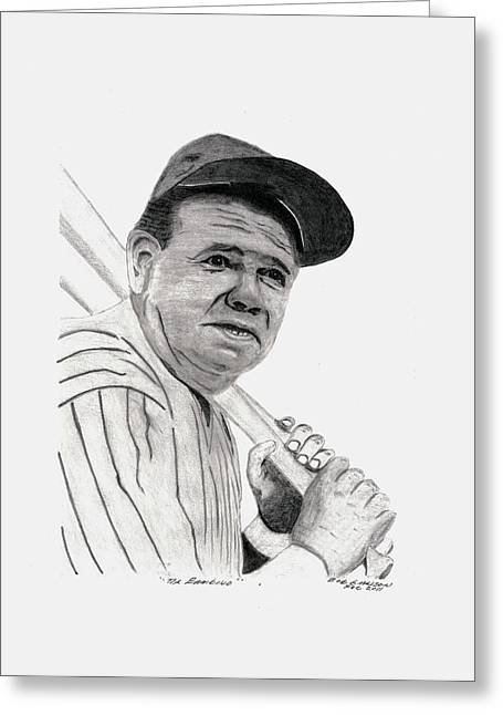 Cooperstown Drawings Greeting Cards - The Bambino Greeting Card by Bob Garrison