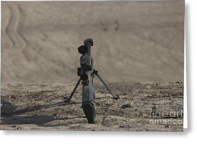 Bipod Greeting Cards - The Barrett M82a1 Sniper Rifle Greeting Card by Terry Moore