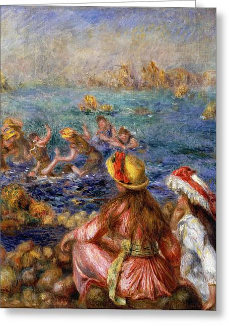 Sea Shore Greeting Cards - The Bathers Greeting Card by Pierre Auguste Renoir