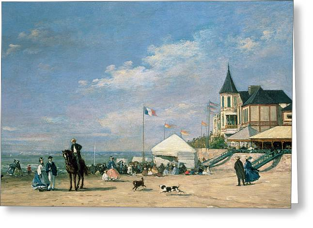 Tricolored Greeting Cards - The Beach at Trouville Greeting Card by Eugene Louis Boudin