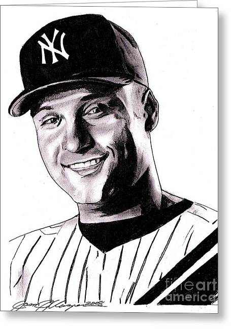 Yankees Drawings Greeting Cards - The Captain Greeting Card by Jason Kasper