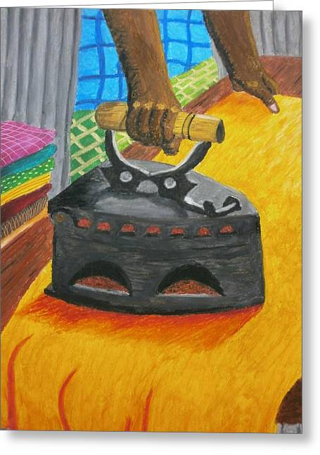 Iron Pastels Greeting Cards - The Dhobis Iron  Greeting Card by Adam Wai Hou