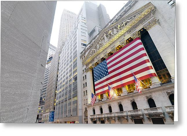 American National Flag Greeting Cards - The Facade Of The New York Stock Greeting Card by Justin Guariglia