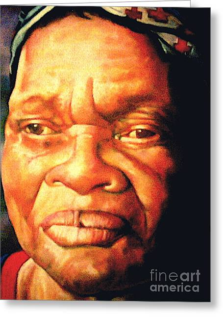 People Pastels Greeting Cards - The Gaze Of Mother Witt Greeting Card by Curtis James