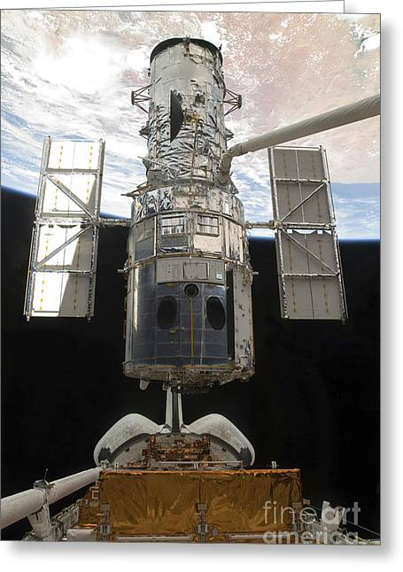 Hubble Space Telescope Views Greeting Cards - The Hubble Space Telescope Is Released Greeting Card by Stocktrek Images