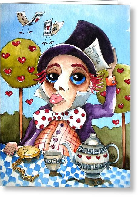Tophat Greeting Cards - The mad hatter Greeting Card by Lucia Stewart