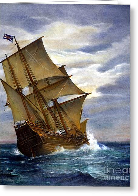 Engraving Greeting Cards - The Mayflower Greeting Card by Granger