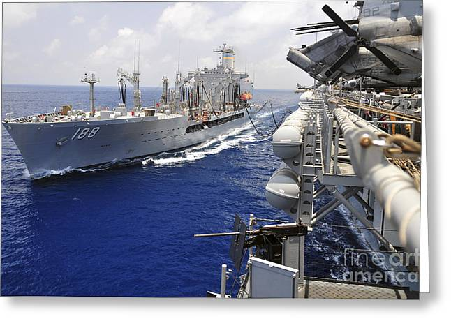 Amphibious Assault Ships Greeting Cards - The Military Sealift Command Fleet Greeting Card by Stocktrek Images