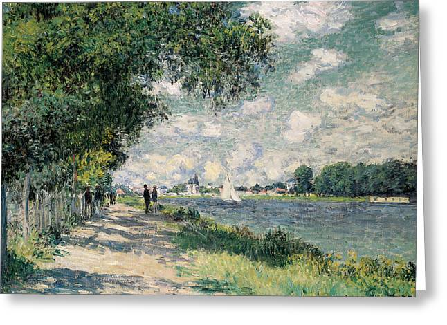 Walkers Greeting Cards - The Seine at Argenteuil Greeting Card by Claude Monet