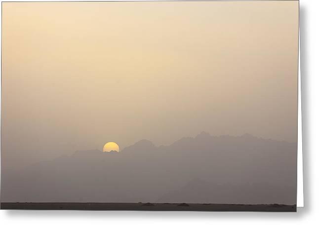 Sinai Mountain Greeting Cards - The Sun Sets Over The Mountains Greeting Card by Taylor S. Kennedy