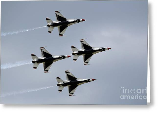 Cooperation Greeting Cards - The U.s. Air Force Thunderbirds Fly Greeting Card by Stocktrek Images