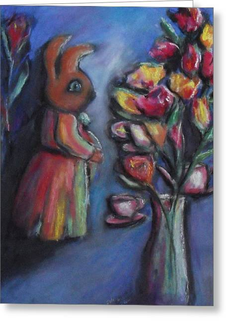 Interior Still Life Pastels Greeting Cards - The Visitors Greeting Card by Charles Wells