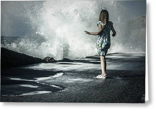 Walk Alone Greeting Cards - The Wave Greeting Card by Joana Kruse
