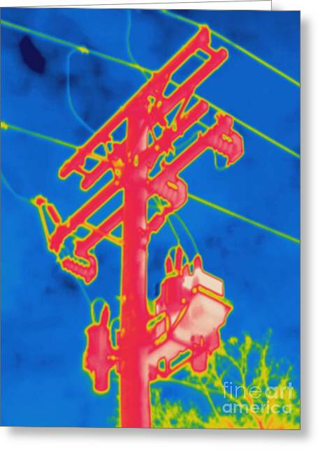 Electrical Resistance Greeting Cards - Thermogram Of Electrical Wires Greeting Card by Ted Kinsman