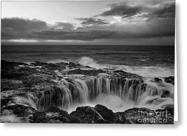 Turbulent Skies Photographs Greeting Cards - Thors Well Greeting Card by Keith Kapple