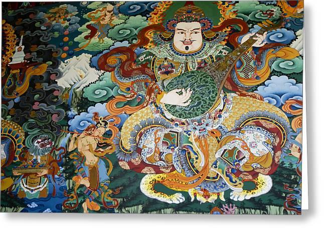 Tibetan Buddhism Greeting Cards - Tibetan Buddhist Mural Greeting Card by Michele Burgess