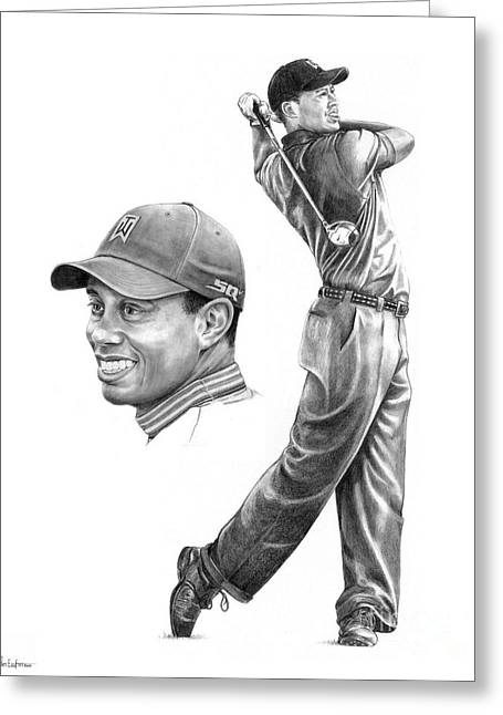 Figure Drawing Greeting Cards - Tiger Woods Greeting Card by Murphy Elliott
