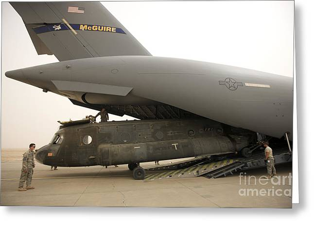 Tikrit Greeting Cards - Tikrit, Iraq - A Ch-47 Chinook Greeting Card by Terry Moore