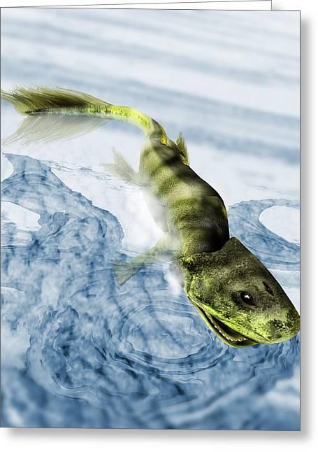 Origin Of Life Greeting Cards - Tiktaalik Prehistoric Fish, Artwork Greeting Card by Victor Habbick Visions