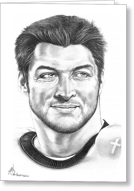 Best Sellers -  - Tebow Greeting Cards - Tim Tebow Greeting Card by Murphy Elliott