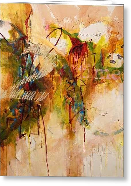 Zimbabwe Paintings Greeting Cards - 2 Time Greeting Card by Brenda Ullrich