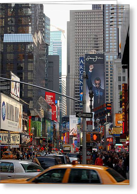 Argent Greeting Cards - Times Square Greeting Card by RicardMN Photography