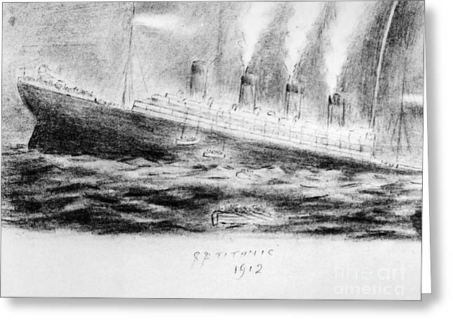 Steward Greeting Cards - Titanic Sinking, 1912 Greeting Card by Granger