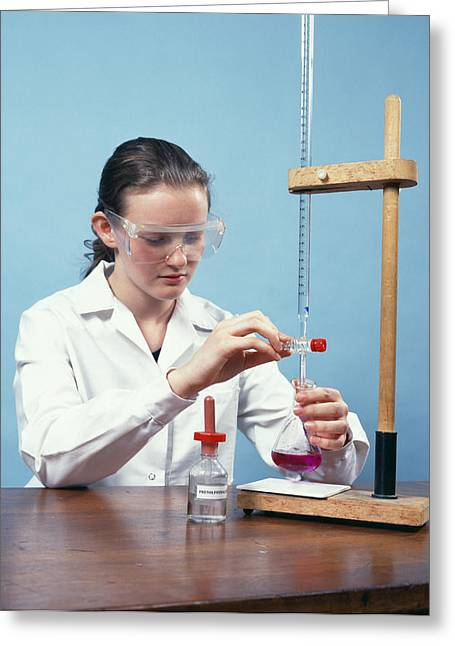 Schoolgirl Greeting Cards - Titration Experiment Greeting Card by Andrew Lambert Photography