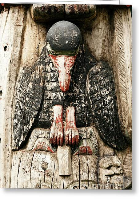Carved Bird Greeting Cards - Totem pole detail Greeting Card by John Greim