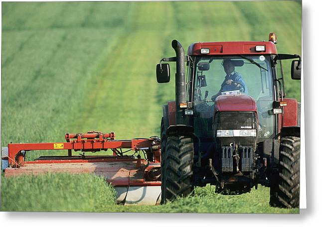 Tractor Cutting Grass For Silage Greeting Card by Jeremy Walker