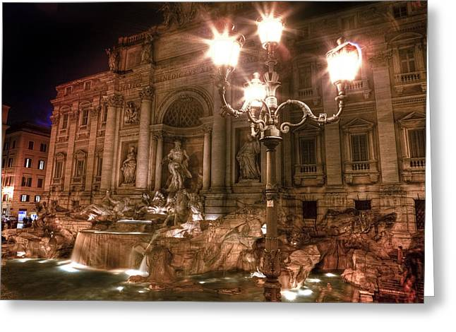 Facades Greeting Cards - Trevi fountain at night Greeting Card by Joana Kruse