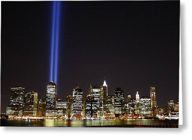 Wtc 11 Photographs Greeting Cards - Tribute in Light 2010 Greeting Card by Christopher Kirby