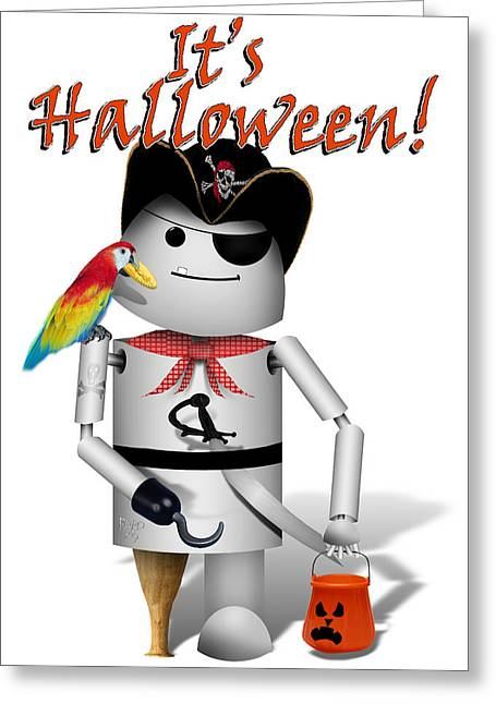Tricks Mixed Media Greeting Cards - Trick or Treat Time for Robo-x9 Greeting Card by Gravityx Designs