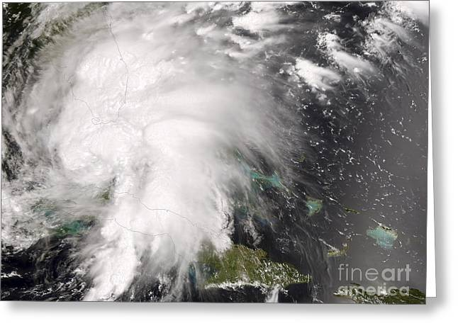 Hispaniola Greeting Cards - Tropical Storm Fay Greeting Card by Stocktrek Images