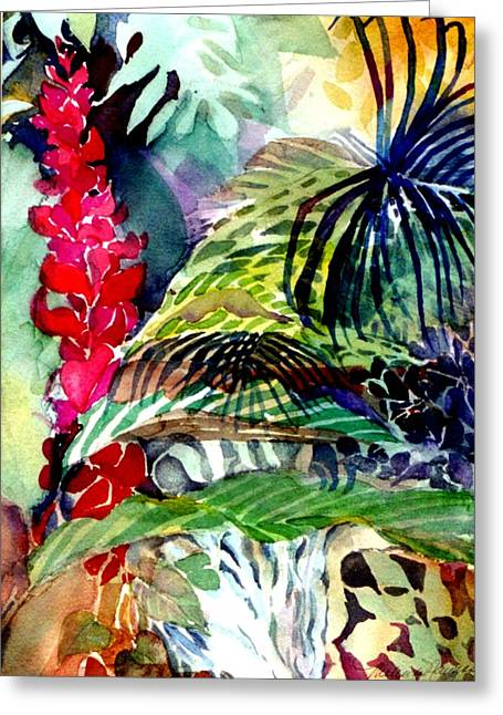 Blue Flowers Drawings Greeting Cards - Tropical Waterfall Greeting Card by Mindy Newman