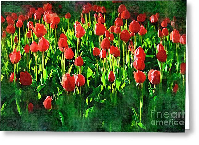 Beauty In Nature Paintings Greeting Cards - Tulips Greeting Card by Hristo Hristov