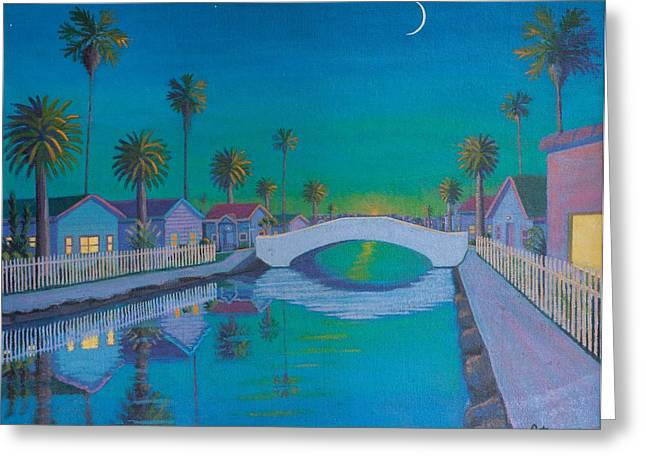 Refelctions Greeting Cards - Twilight on Retro Canal Greeting Card by Frank Strasser