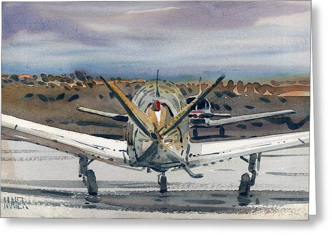 Airplane Paintings Greeting Cards - Two Planes Greeting Card by Donald Maier