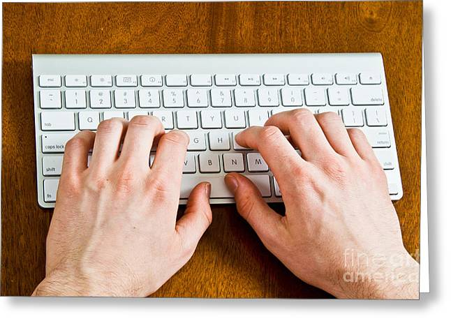 Computer Equipment Greeting Cards - Typing On A Wireless Keyboard Greeting Card by Photo Researchers